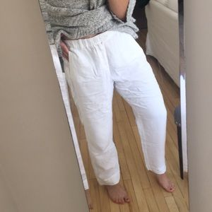 JCrew White Linen Pants